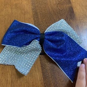 Accessories - Blue & Silver Cheer/Dance Bow